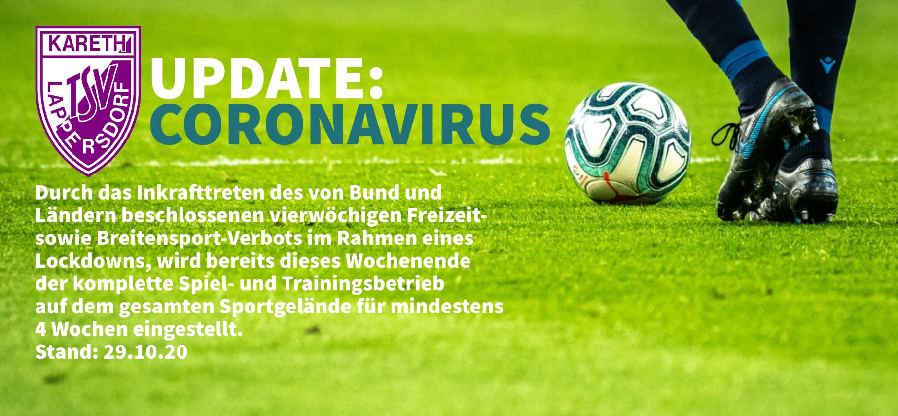 Update: Coronavirus 29.10.20